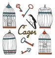 Beautiful collection of hand drawn cages vector image vector image
