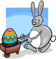 bunny and easter egg cartoon vector image