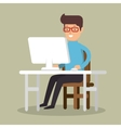 businessman avatar working icon vector image