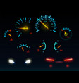 car glowing indicators and headlights set vector image vector image