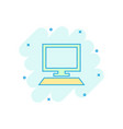cartoon computer icon in comic style monitor sign vector image vector image