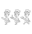 cartoon cooks contours vector image