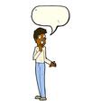 cartoon worried man with speech bubble vector image vector image