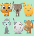 Cat Cartoon Cute Collation Set vector image vector image