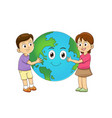 children love earth hugging planet vector image