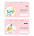 coding website landing page template set vector image vector image
