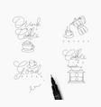coffee pen line symbols vector image vector image