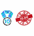 collage 10th place medal with distress 1000 stamp vector image vector image