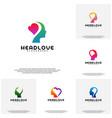 collection head love logo head intelligence logo vector image