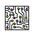 computer circuit board colorful isolated black vector image