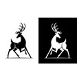 deer silhouette black and white icon vector image vector image