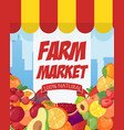 farmers market poster template with eco organic vector image