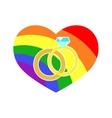 gay LGBT wedding rings rainbow heart vector image vector image