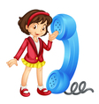 Girl with Phone Receiver vector image vector image