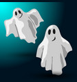 halloween design with two flying ghosts vector image