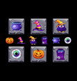 halloween icons on stone square vector image vector image