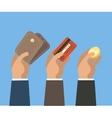 Hands with card wallet and coin vector image