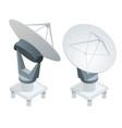 isometric satellite dish antennas on white vector image vector image