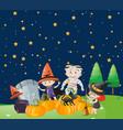 kids on halloween night vector image