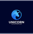 logo unicorn head gradient colorful style vector image