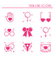 love line icons set happy valentine day pink vector image vector image
