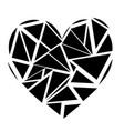 monochrome geometric mosaic broken heart shape vector image
