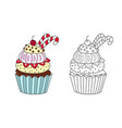 outlined doodle anti-stress coloring sweet cakes vector image vector image