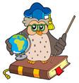 owl teacher with globe vector image vector image