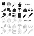 party entertainment black icons in set collection vector image vector image