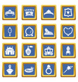princess doll icons set blue square vector image vector image