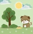 pug smile in the garden vector image