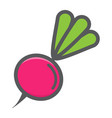 radish colorful line icon vegetable and diet vector image vector image