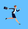 running businesswoman in a flat style isolated vector image