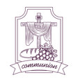 sacred cross communion bread and bunch grapes hand vector image vector image