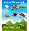 set insect sticker vector image vector image
