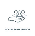 social participation outline icon thin line vector image