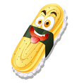 Sweet egg roll on rice vector image vector image