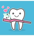 Tooth and toothbrush vector image vector image