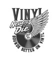 tshirt print with winged vinyl disk for apparel vector image