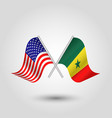 two crossed american and senegalese flags vector image vector image