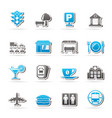 urban and city elements icons vector image vector image