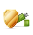 usb flash drive with shield Data Protection vector image vector image