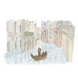 venetian landscape with a boat vector image vector image