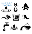 water icons and signs set vector image