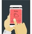 Weather mobile app mockup vector image