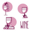 wine cups with grapes and cheese vector image vector image