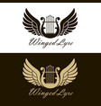 winged lyre icons vector image