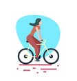 woman riding bike white background female sport vector image