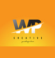 wp w p letter modern logo design with yellow vector image vector image