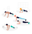 young fit people doing plank exercise core vector image